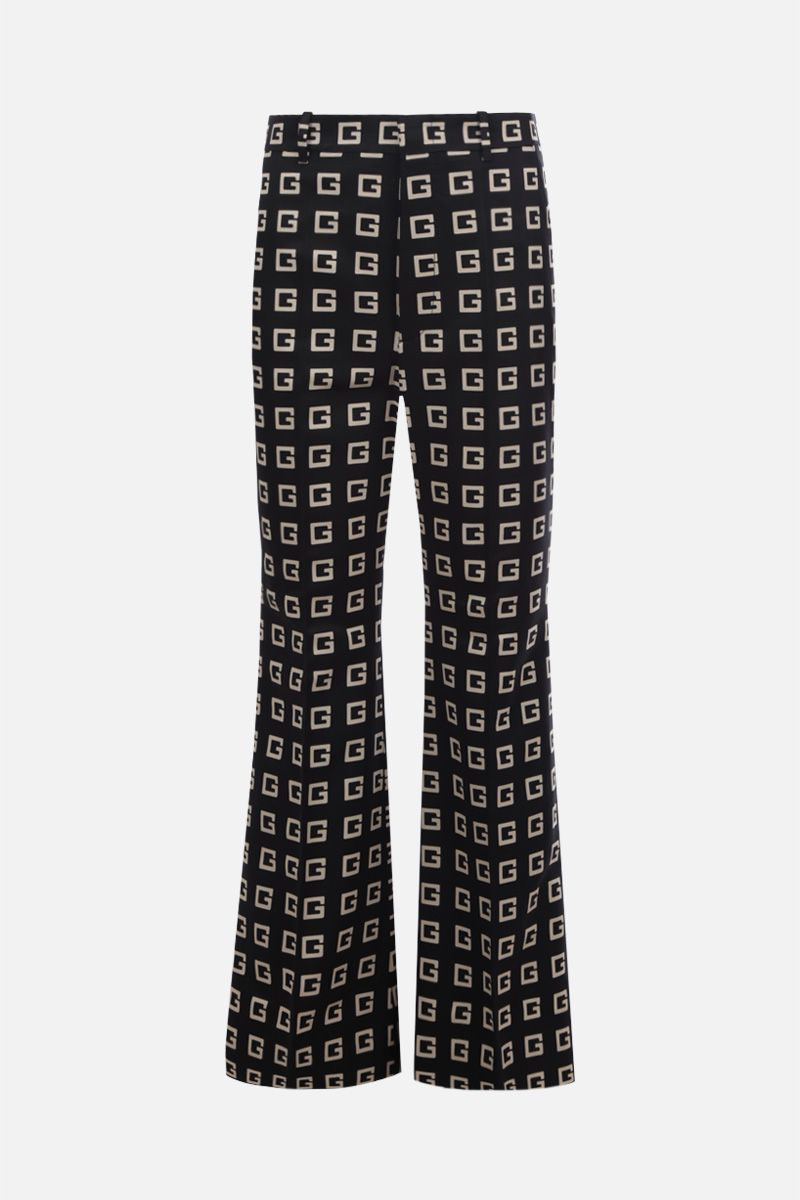 GUCCI: Square G print faille flare pants Color Black_1