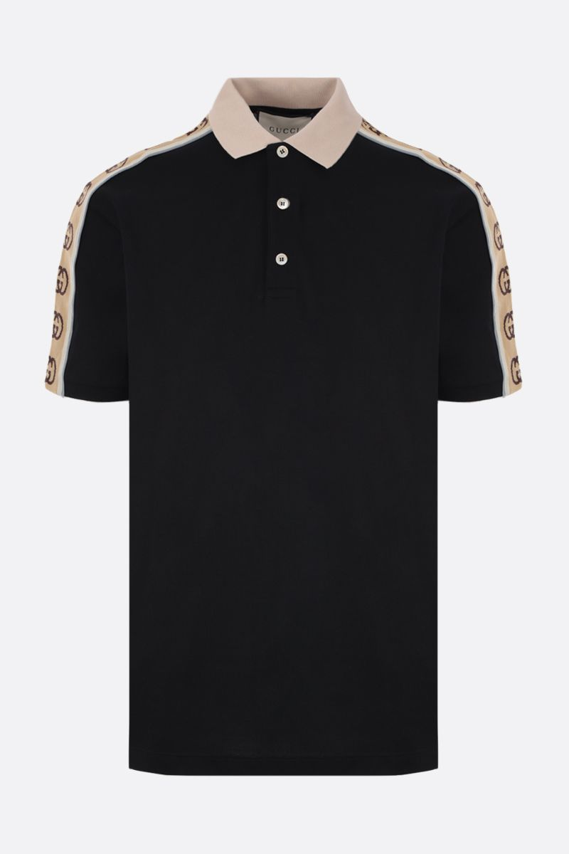 GUCCI: piquet polo shirt with Interlocking G jacquard stripe Color Multicolor_1
