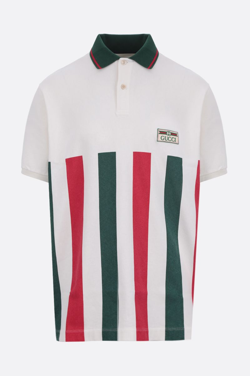 GUCCI: Web striped cotton oversize polo shirt_1