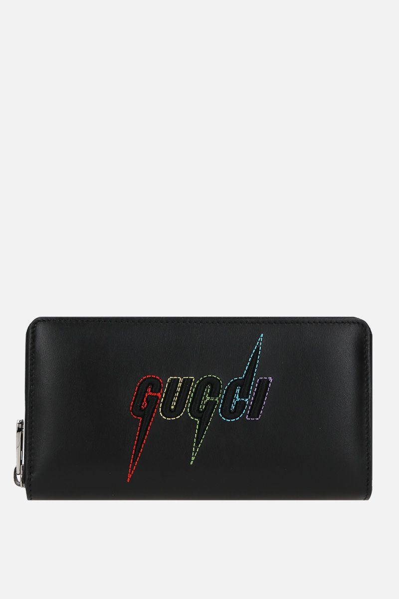 GUCCI: Gucci embroidered smooth leather zip-around wallet Color Multicolor_1