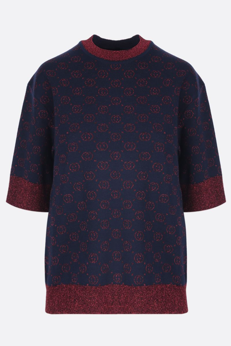 GUCCI: short-sleeved pullover in Interlocking G lamè wool jacquard Color Blue_1
