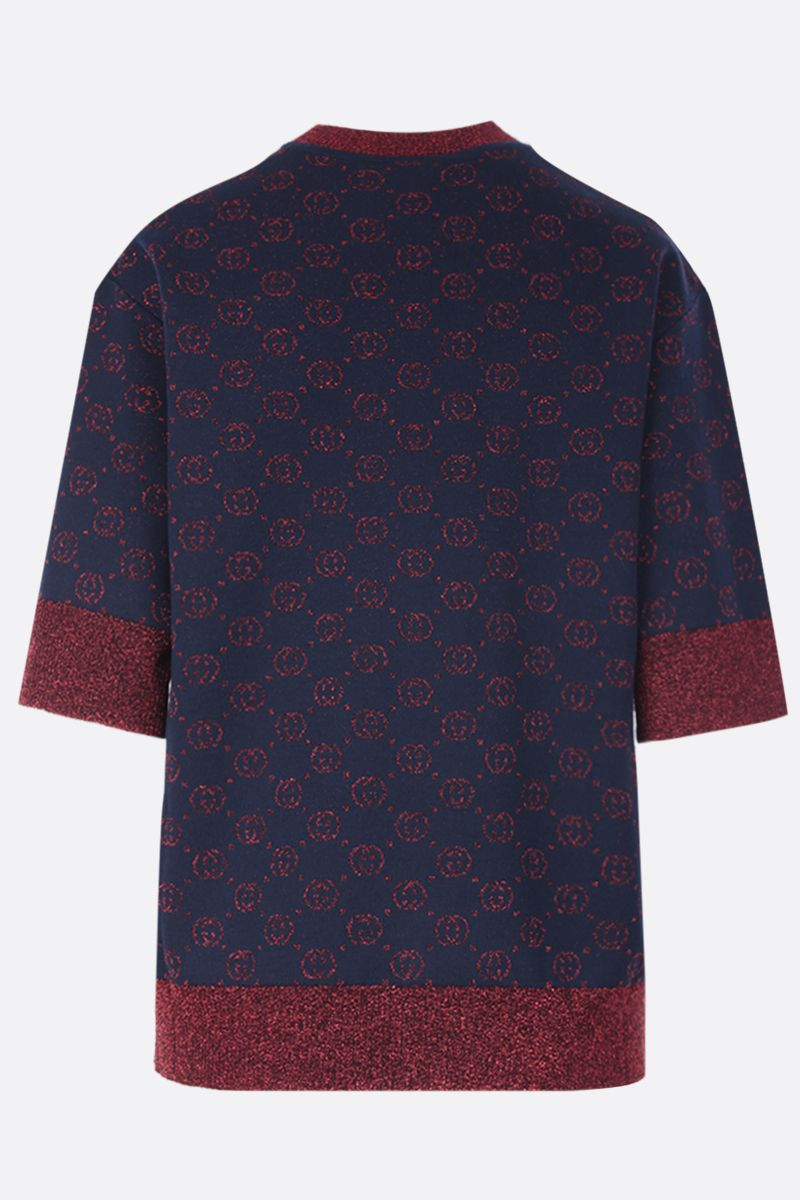 GUCCI: short-sleeved pullover in Interlocking G lamè wool jacquard Color Blue_2