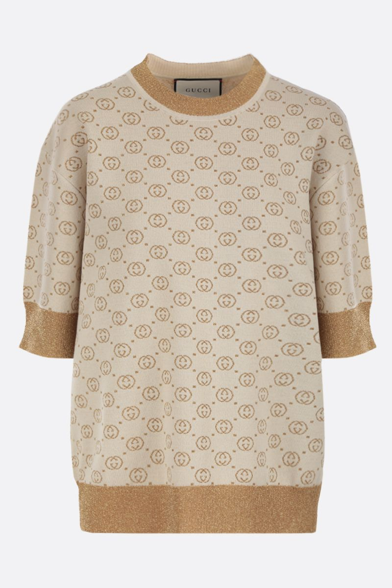 GUCCI: short-sleeved pullover in Interlocking G lamè wool jacquard Color White_1