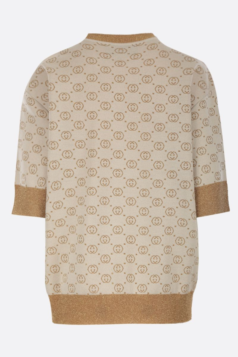 GUCCI: short-sleeved pullover in Interlocking G lamè wool jacquard Color White_2