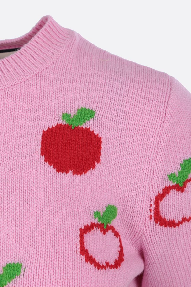 GUCCI: GG apple intarsia wool short-sleeved pullover Color Pink_3