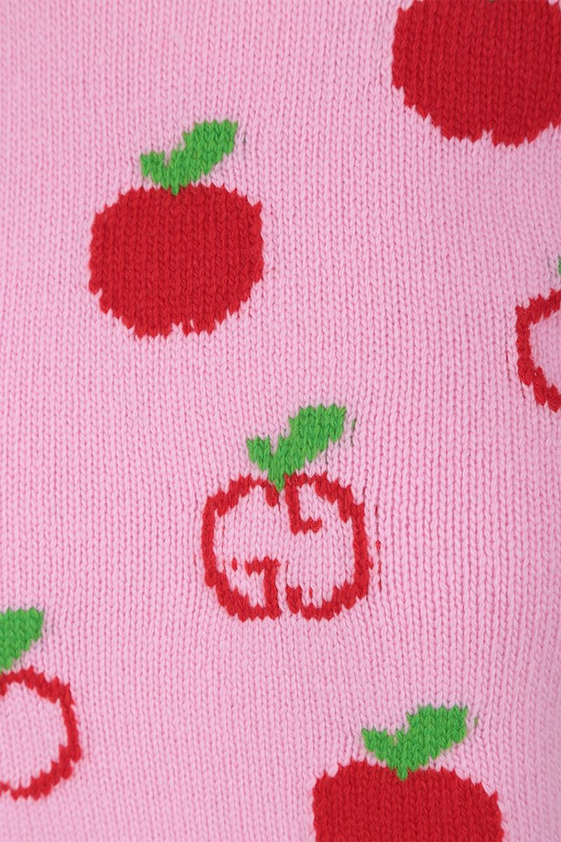 GUCCI: GG apple intarsia wool short-sleeved pullover Color Pink_4