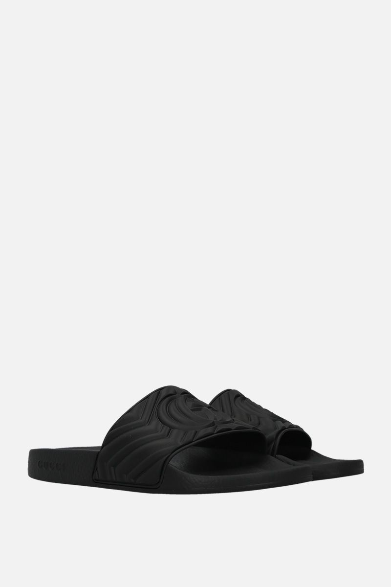 GUCCI: quilted GG rubber slide sandals Color Black_2