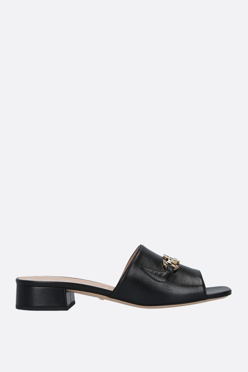 GUCCI: Gucci Zumi slide sandals in smooth leather Color Black_1
