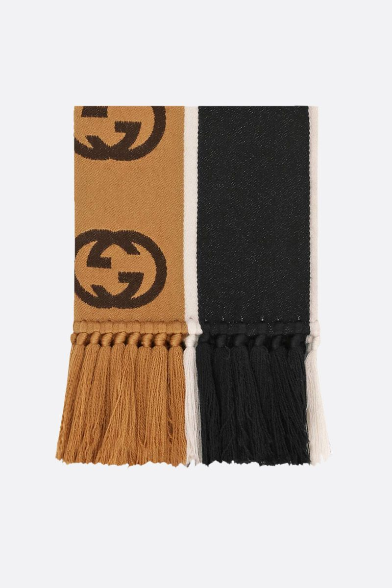 GUCCI: wool cotton blend scarf with interlocking G jacquard stripe Color Black_1