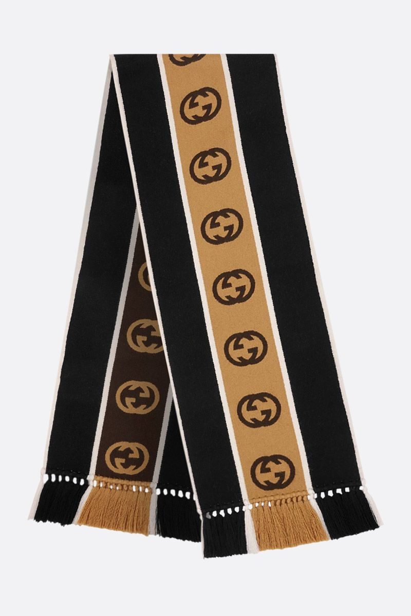 GUCCI: wool cotton blend scarf with interlocking G jacquard stripe Color Black_2