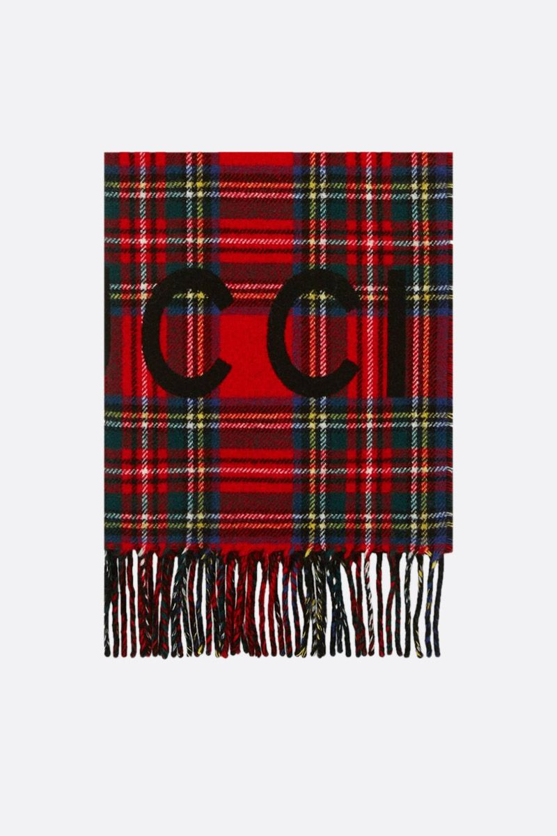GUCCI: tartan wool cashmere blend scarf Color Black_1
