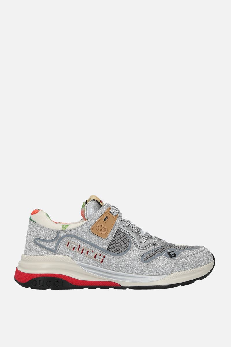 GUCCI: Ultrapace sneakers in a mix of leather and fabrics Color Silver_1