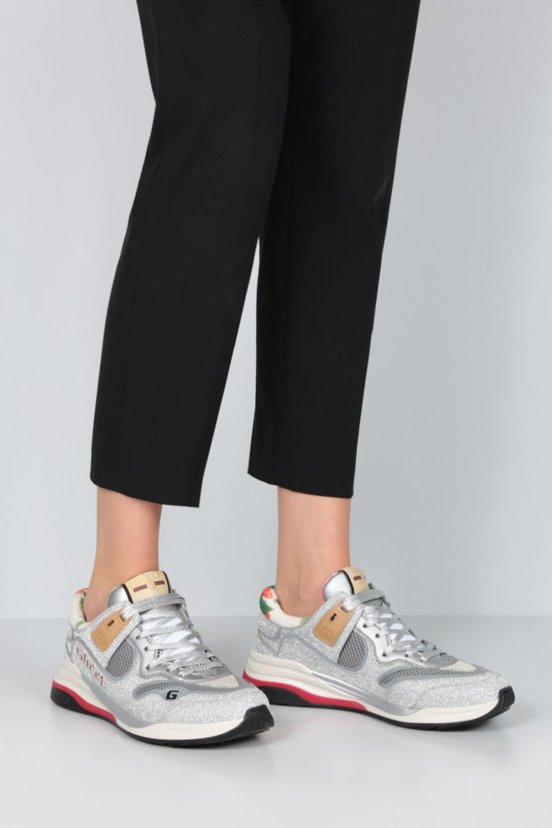 GUCCI: Ultrapace sneakers in a mix of leather and fabrics Color Silver_2