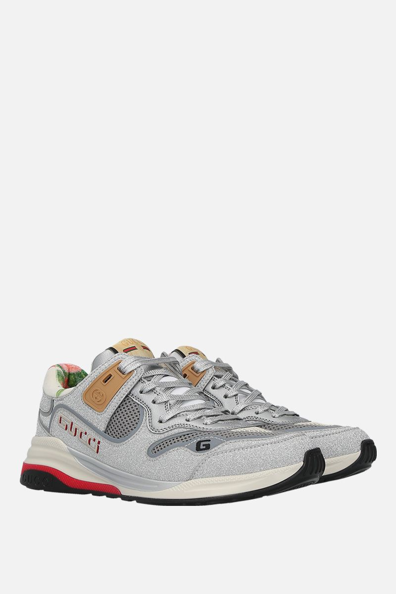 GUCCI: Ultrapace sneakers in a mix of leather and fabrics Color Silver_3