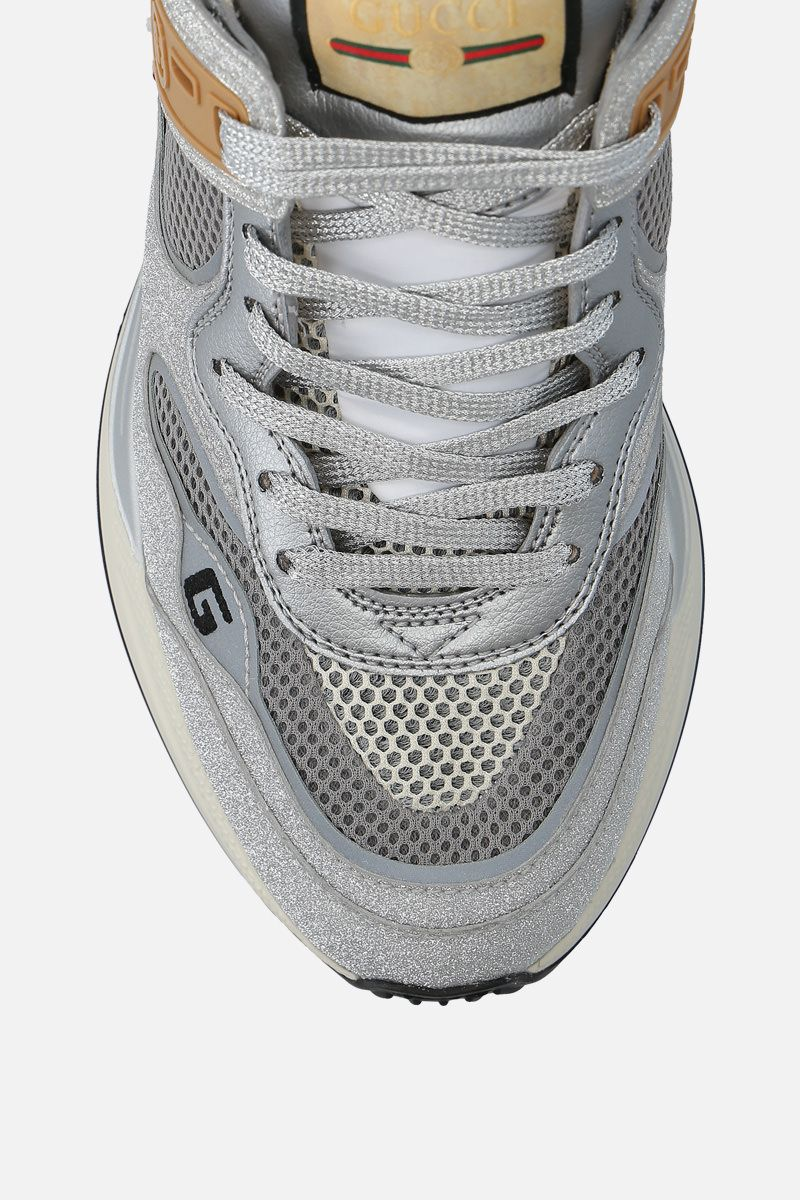 GUCCI: Ultrapace sneakers in a mix of leather and fabrics Color Silver_5