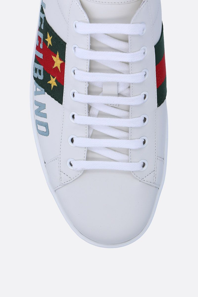 GUCCI: Ace leather sneakers with Gucci Band embroidery Color Multicolor_4