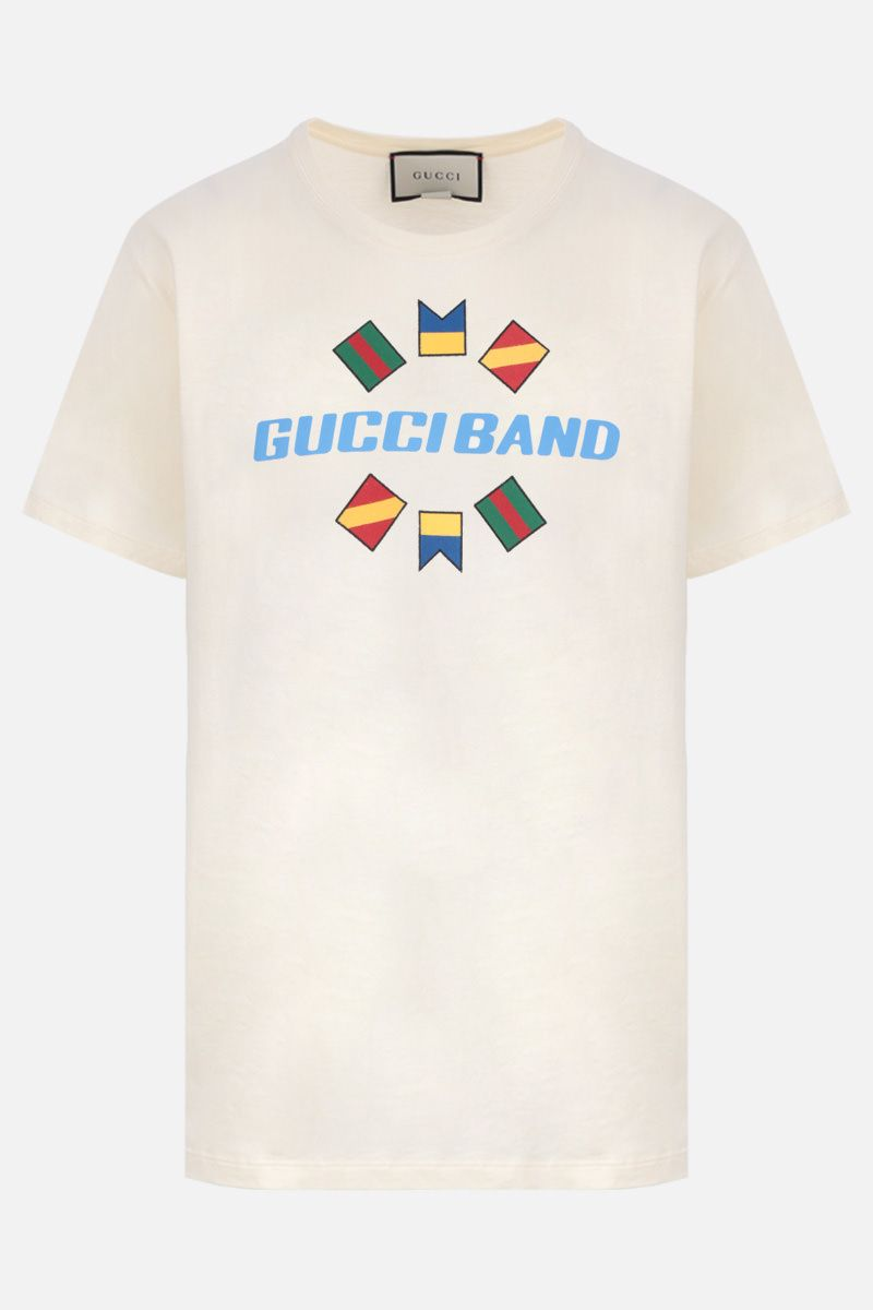 GUCCI: Gucci Band print cotton oversized t-shirt Color White_1