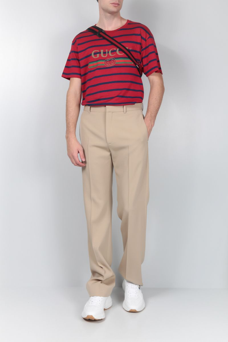 GUCCI: Gucci vintage print striped linen cotton blend t-shirt_2