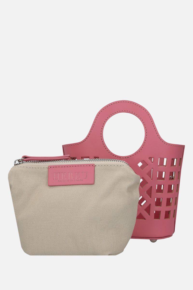 HEREU: Colmado mini crossbody bag in cut-out leather Color Pink_2