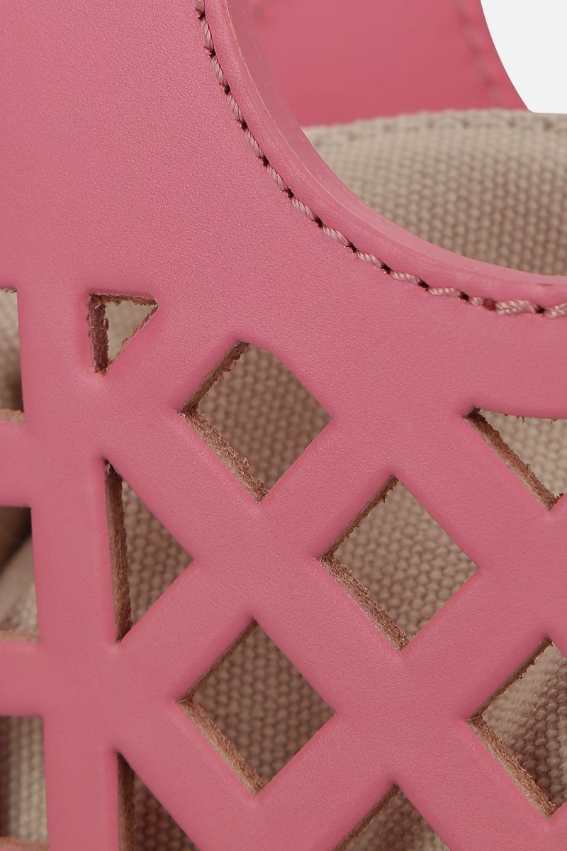 HEREU: Colmado mini crossbody bag in cut-out leather Color Pink_4