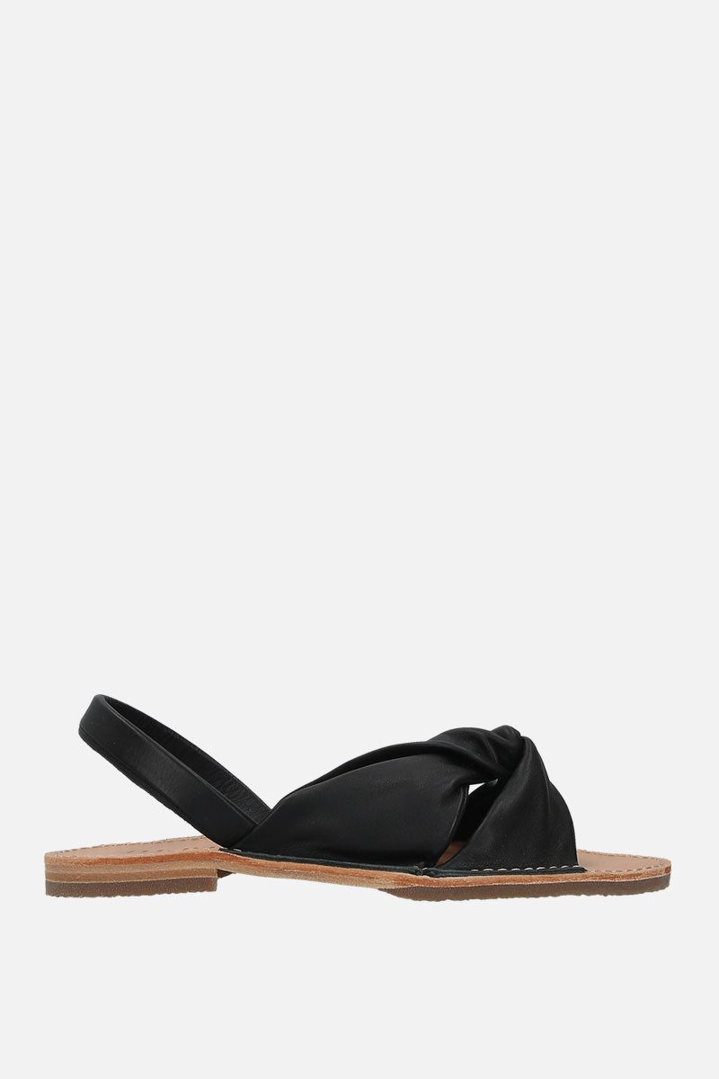 HEREU: Addaia smooth leather flat sandals Color Black_1