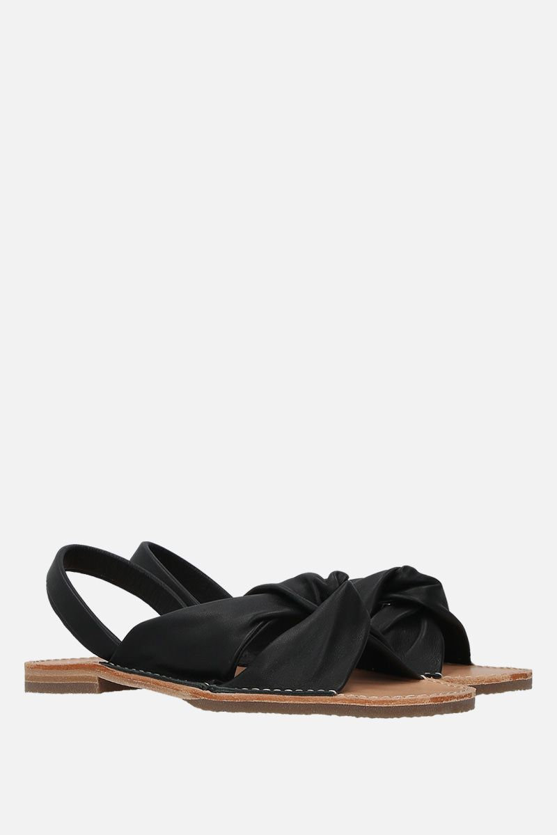 HEREU: Addaia smooth leather flat sandals Color Black_3