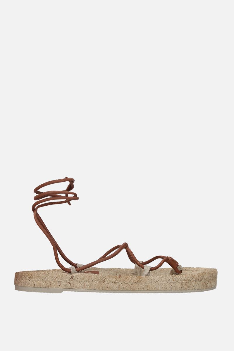HEREU: Atada smooth leather thong sandals Color Neutral_1