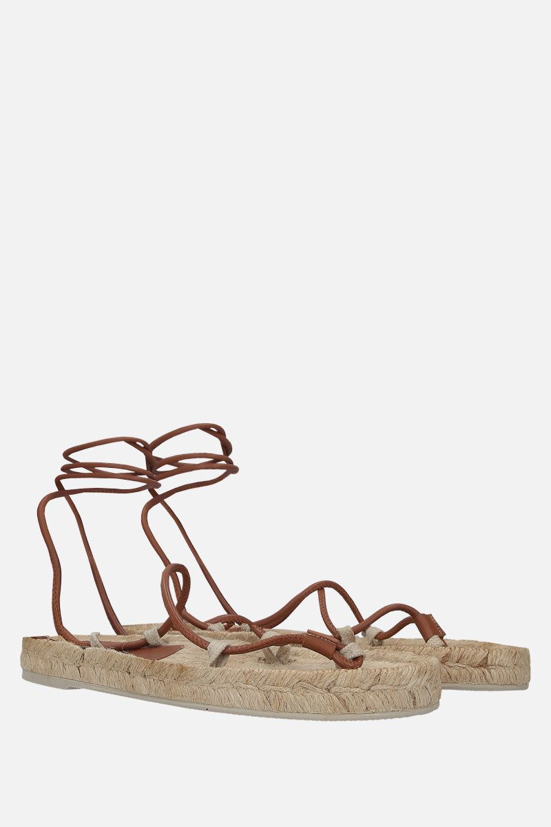 HEREU: Atada smooth leather thong sandals Color Neutral_2