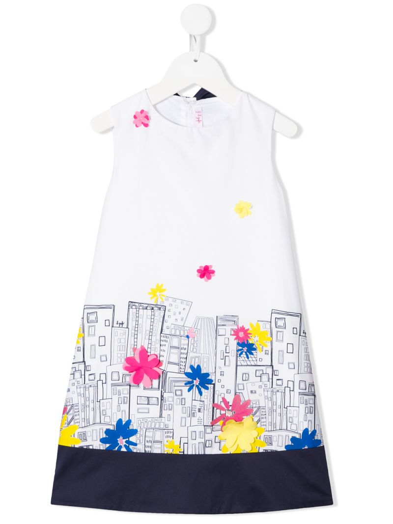 IL GUFO: City print cotton A-line dress Color Blue_1