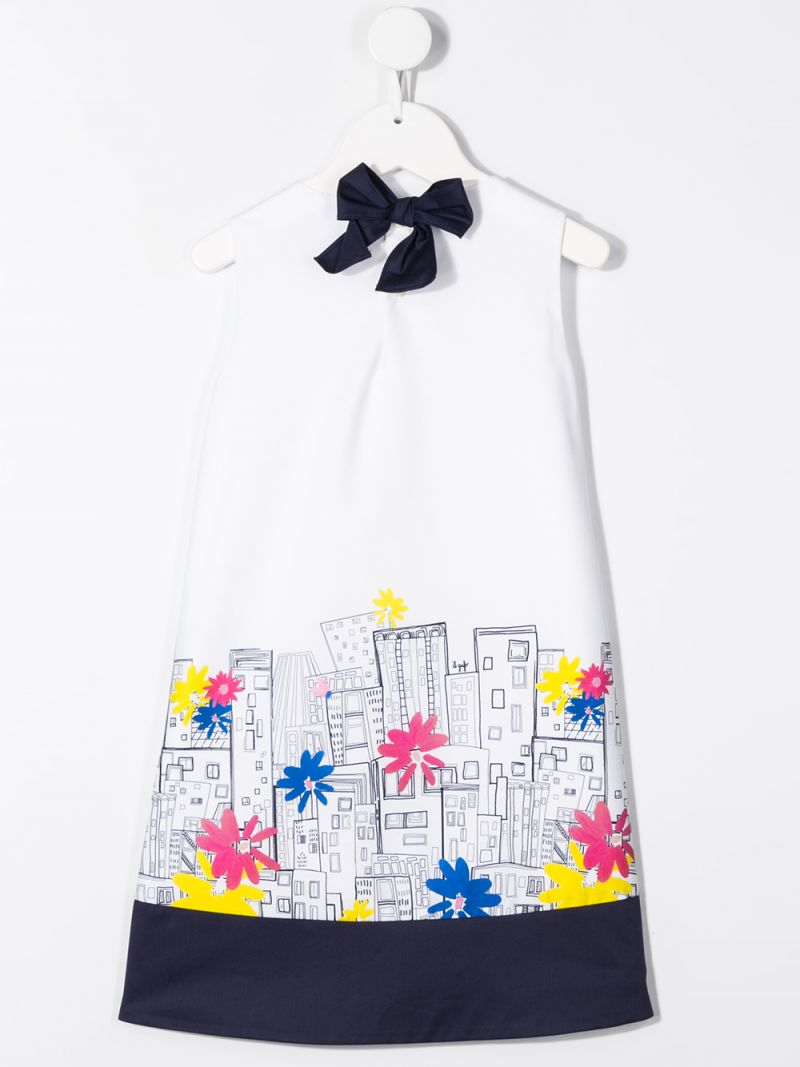 IL GUFO: City print cotton A-line dress Color Blue_2