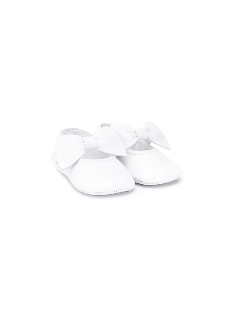 IL GUFO: bow-detailed smooth leather ballerinas Color White_1