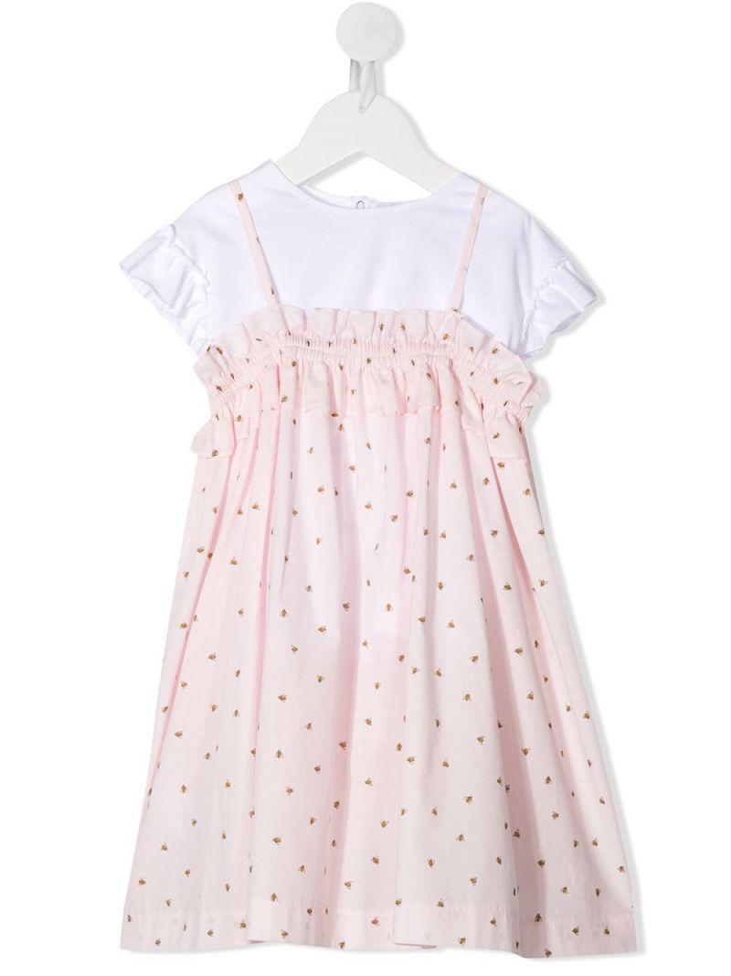 IL GUFO: bee printed cotton dress with t-shirt Color Pink_1