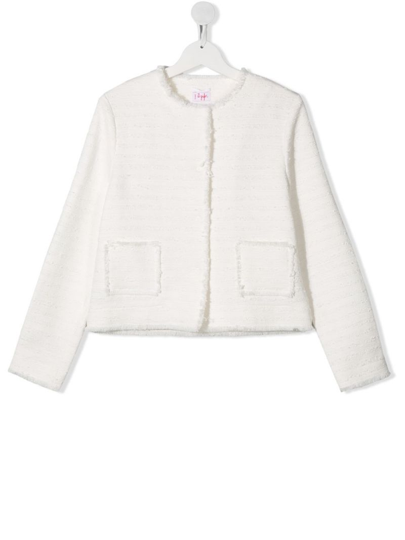 IL GUFO: bouclè tweed single-breasted jacket Color White_1
