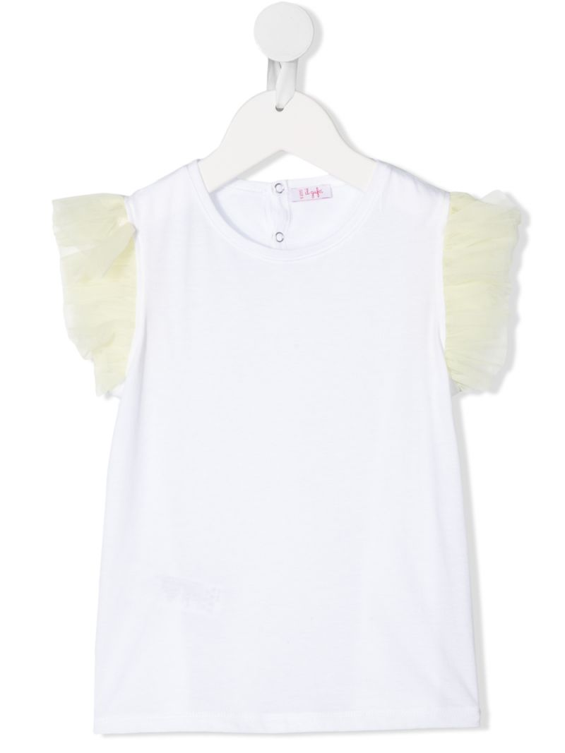 IL GUFO: tulle sleeves cotton t-shirt_1