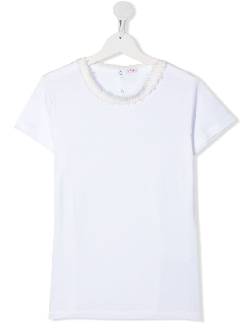 IL GUFO: tweed trimmed cotton t-shirt Color White_1