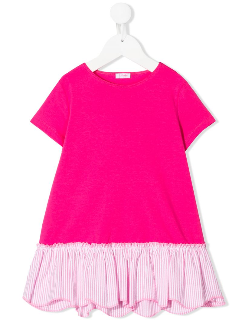 IL GUFO: cotton blend t-shirt with striped insert Color Pink_1