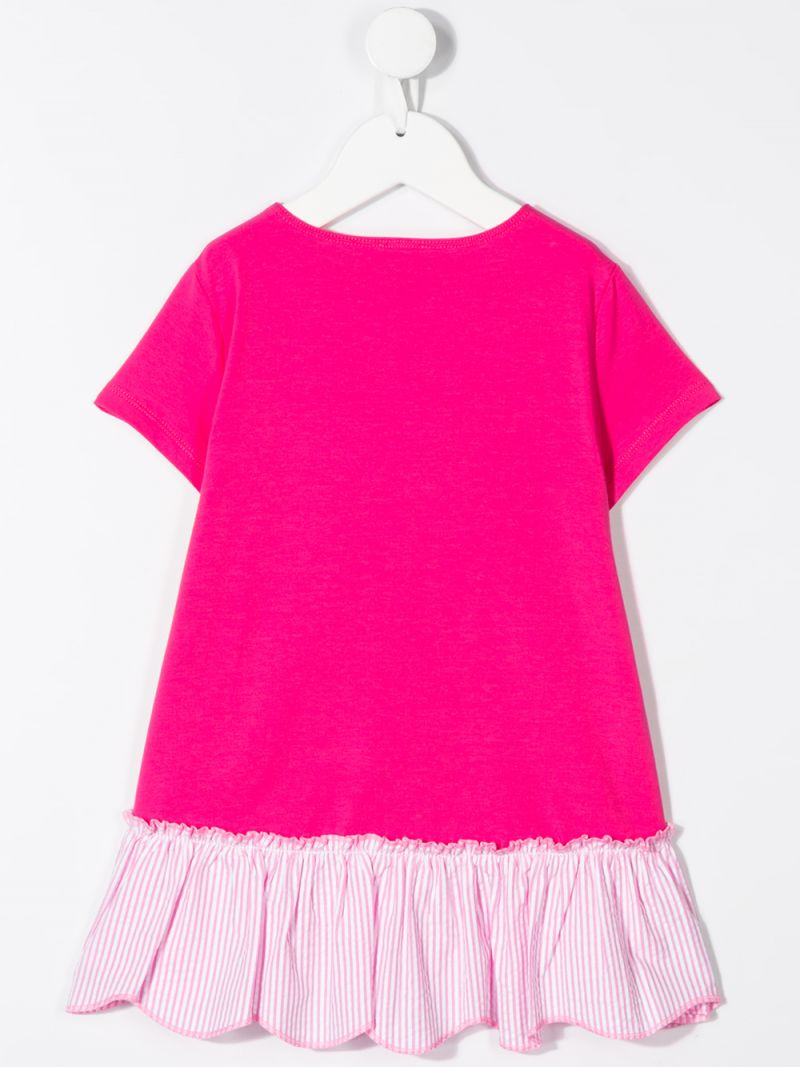 IL GUFO: cotton blend t-shirt with striped insert Color Pink_2