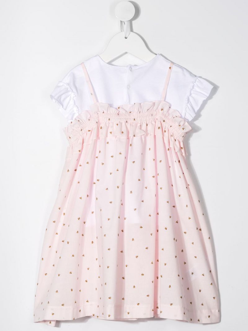 IL GUFO: bee printed cotton dress with t-shirt Color Pink_2