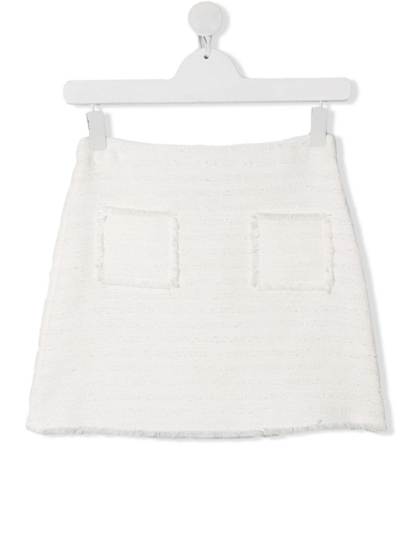 IL GUFO: bouclè tweed short skirt Color White_1