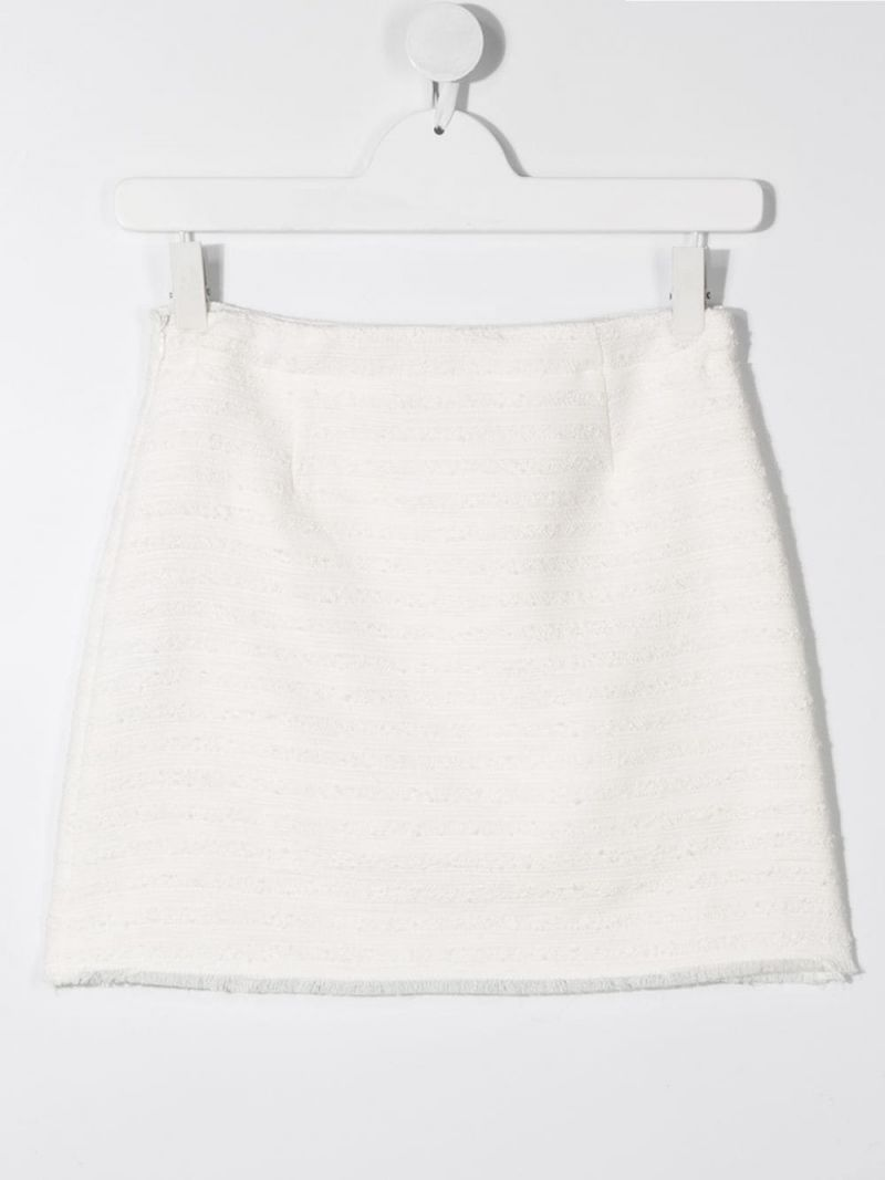 IL GUFO: bouclè tweed short skirt Color White_2