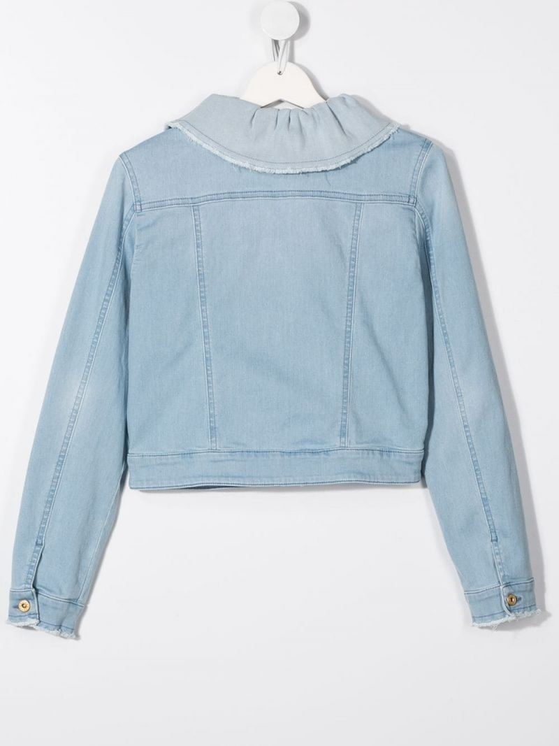 IL GUFO: ruffled collar-detailed stretch denim jacket Color Blue_2