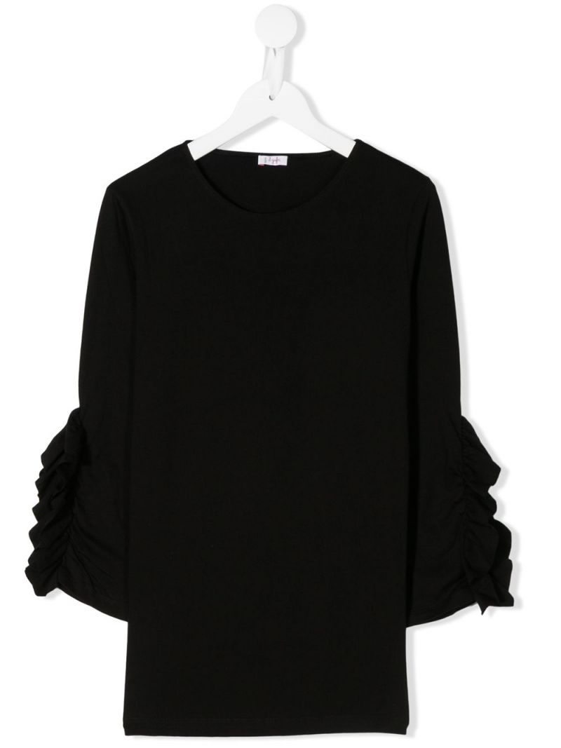 IL GUFO: ruches-detailed cotton t-shirt Color Black_1