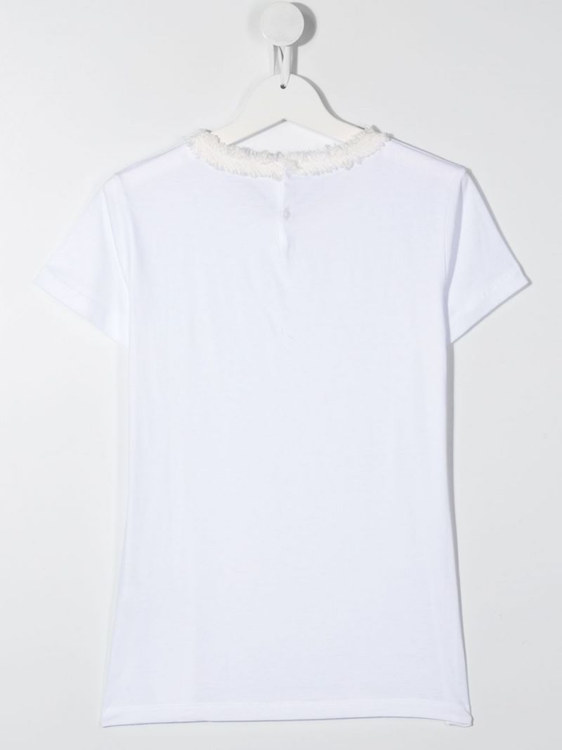 IL GUFO: tweed trimmed cotton t-shirt Color White_2