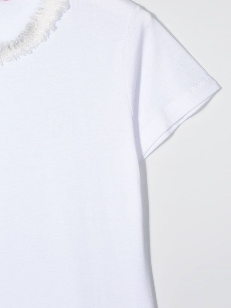 IL GUFO: tweed trimmed cotton t-shirt Color White_3