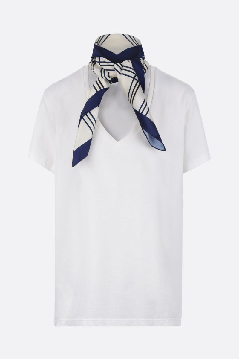 JEJIA: cotton t-shirt with twill foulard Color White_1