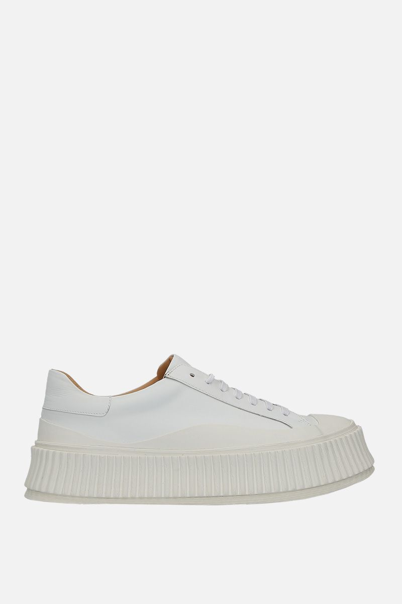 JIL SANDER: smooth leather and rubber low-top sneakers Color White_1
