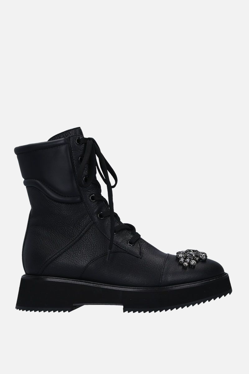 JIMMY CHOO: Hadley combat boots in grainy leather Color Black_1