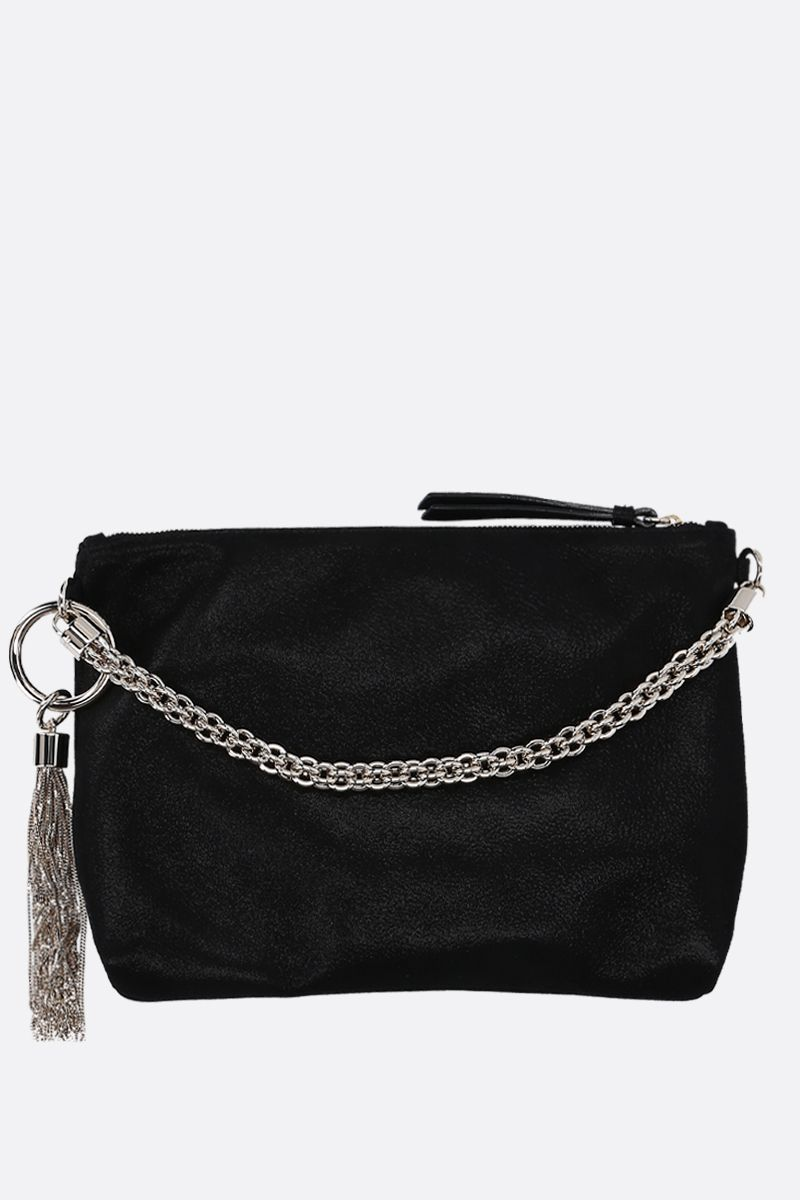 JIMMY CHOO: Callie handbag in shimmer suede Color Black_1