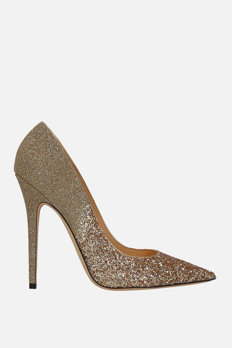 JIMMY CHOO: Anouk pumps in glitter fabric Color Gold_1