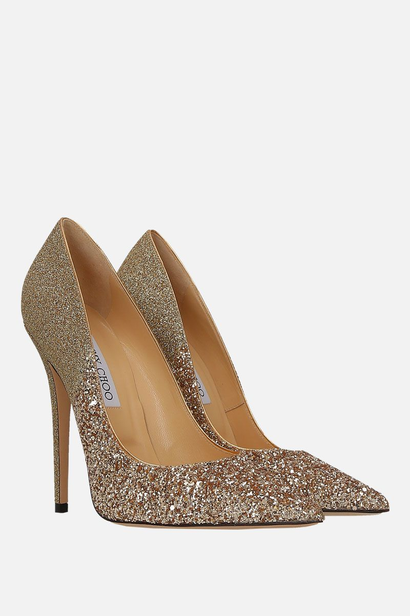 JIMMY CHOO: Anouk pumps in glitter fabric Color Gold_2